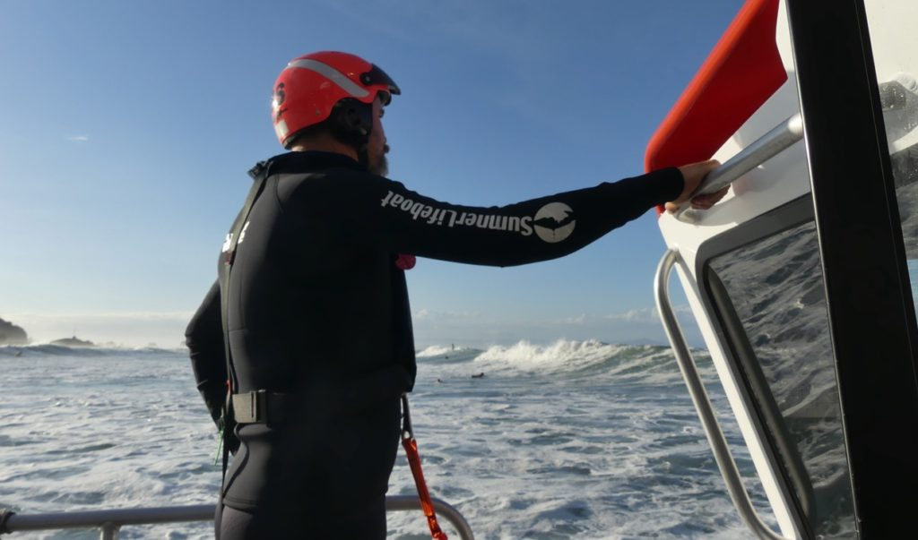 In the surf - Blue Arrow Rescue